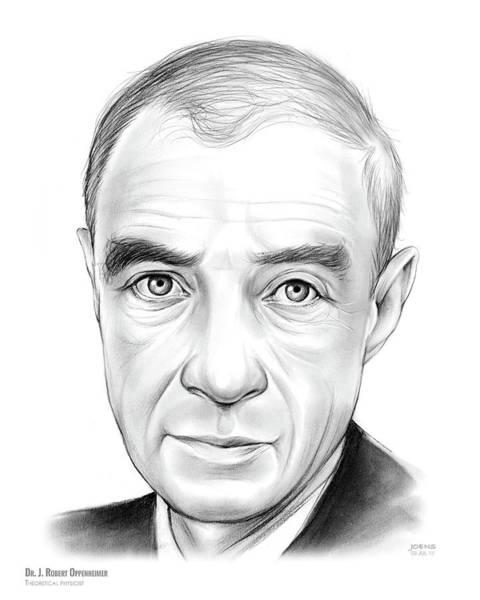 Physics Wall Art - Drawing - Dr. J. Robert Oppenheimer by Greg Joens