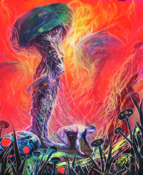 Blacklight Painting - Dr. Liquid Trips Out Of A Mushroom by Will Shanklin