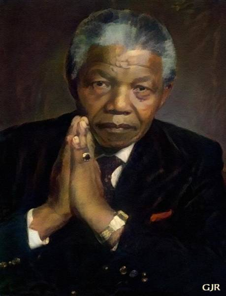 Philosopher Digital Art - Dr Nelson Mandela - Madiba - South African Freedom Struggle Icon. L A S by Gert J Rheeders