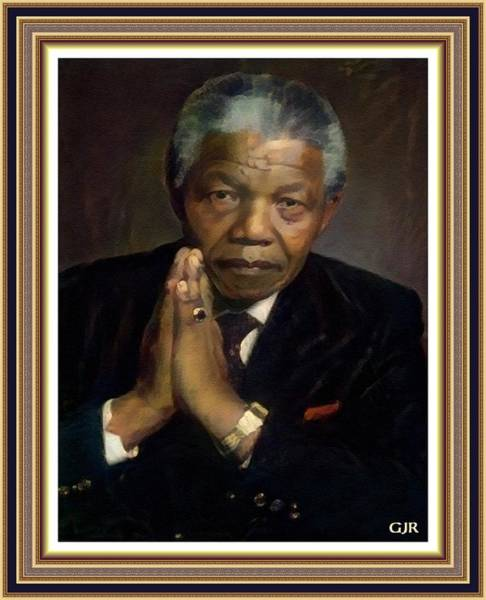 Philosopher Digital Art - Dr Nelson Mandela - Madiba - South African Freedom Struggle Icon. L  A S With Ornate Printed Frame. by Gert J Rheeders