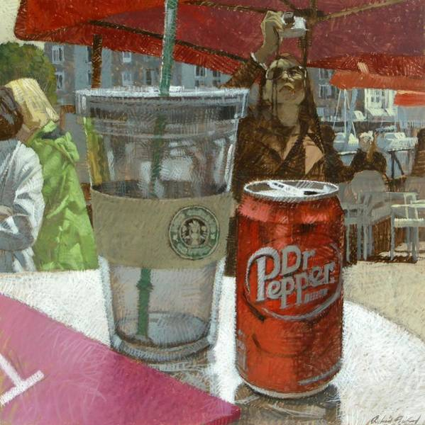 Coffee Painting - Dr. Pepper by Richard Thibaud
