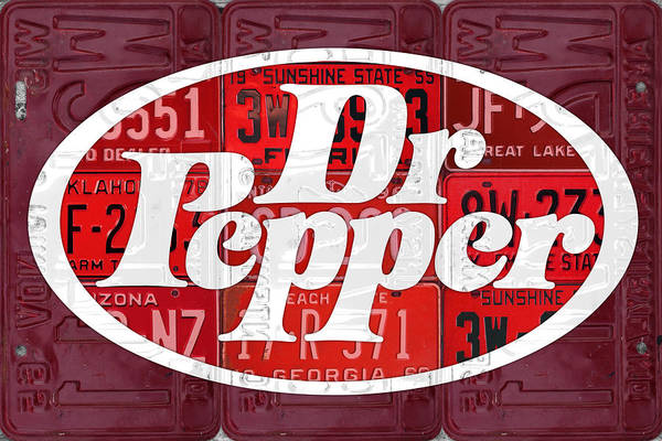 Retro Mixed Media - Dr Pepper Soda Pop Beverage Vintage Retro Logo Recycled License Plate Art by Design Turnpike