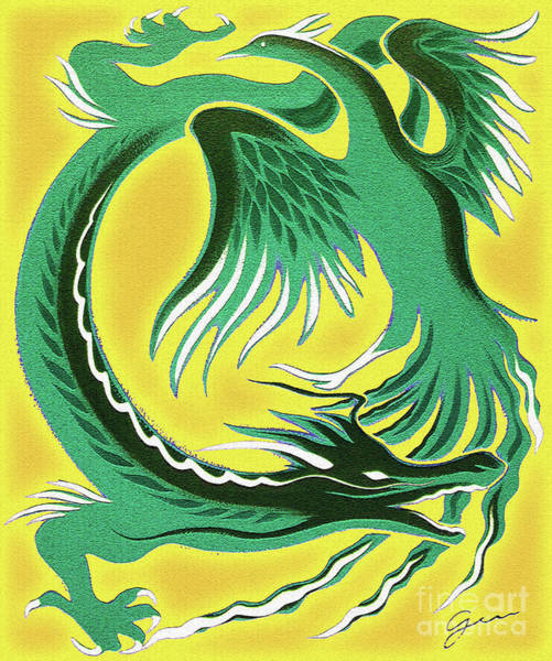 Lucky Charm Painting - Dragon And Phoenix - Gold by Gem S Visionary