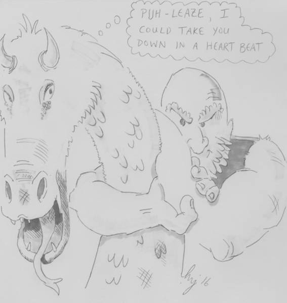 Drawing - Dragon And Wrestler Wrestling Cartoon by Mike Jory