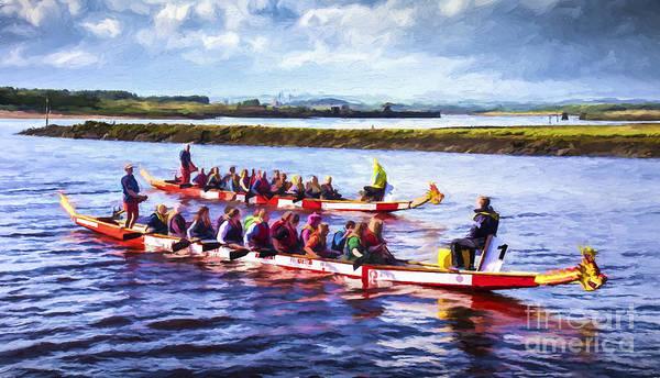 Dragon Boat Race Digital Art - Dragon Boats by Liz Leyden
