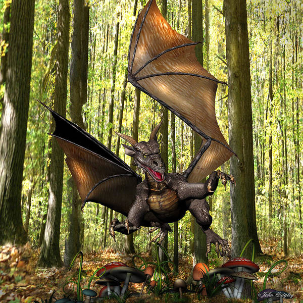 Digital Art - Dragon 'edwin' - Dropping In For A Snack by John Quigley