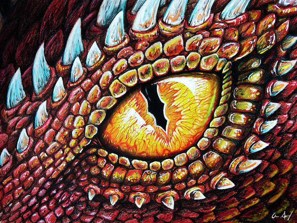 Drawing - Dragon Eye by Aaron Spong