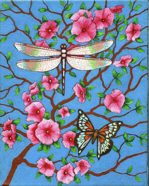 Dragon Fly Painting - Dragon Fly And Butterfly 2 by Jane Whiting Chrzanoska