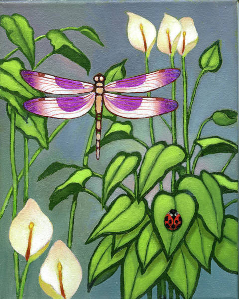 Dragon Fly Painting - Dragon Fly And Lady Bug by Jane Whiting Chrzanoska