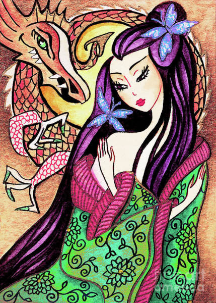 Painting - Dragon Geisha by Eva Campbell