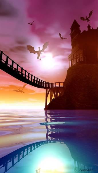 Reflections Digital Art - Dragon Manor by Cynthia Decker