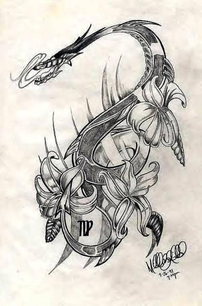 Drawing - Dragon by Michelle Dallocchio