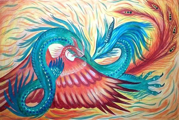 Chinese Buddha Painting - Dragon-phoenix by Sonia A