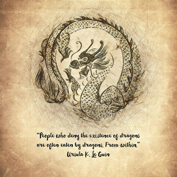 Drawing - Dragon Quote by Zapista Zapista