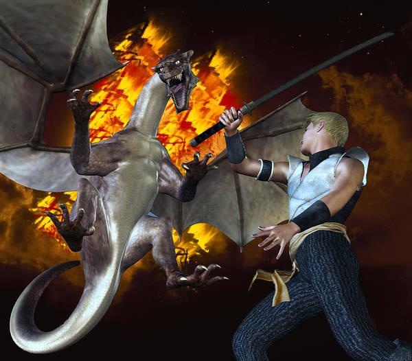 Digital Art - Dragon Slayer by Carlos Diaz