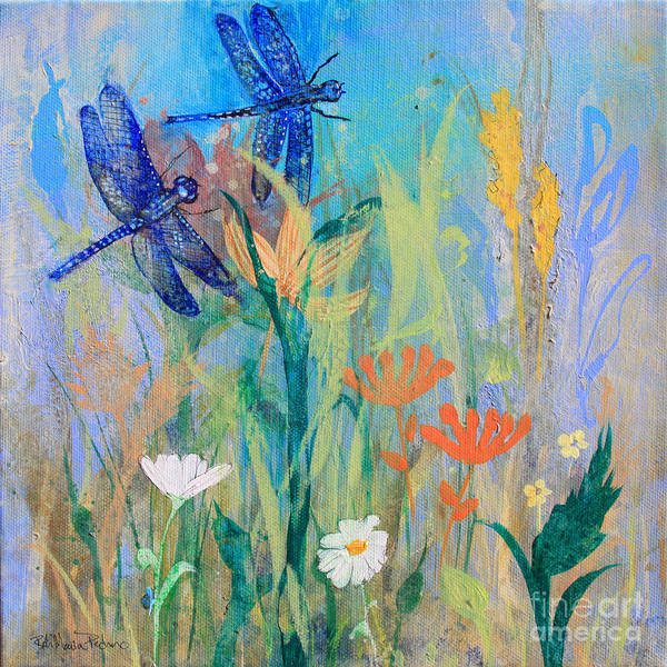 Painting - Dragonflies In Wild Garden by Robin Maria Pedrero