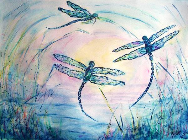 Romo Painting - Dragonflies by Robin Monroe