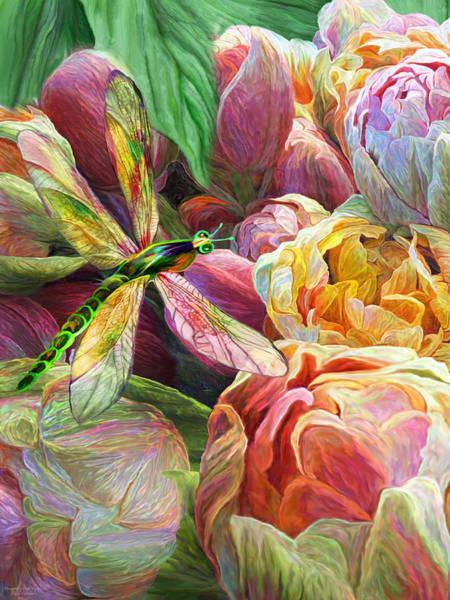 Mixed Media - Dragonfly And Tulips 1 by Carol Cavalaris