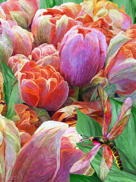 Mixed Media - Dragonfly And Tulips 2 by Carol Cavalaris