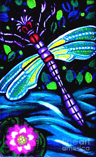 Floral Shower Curtain Painting - Dragonfly And Water Lily by Genevieve Esson