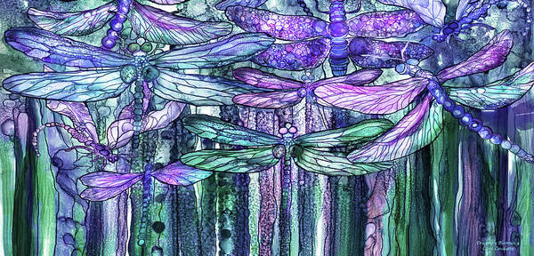 Wall Art - Mixed Media - Dragonfly Bloomies 4 - Lavender Teal by Carol Cavalaris