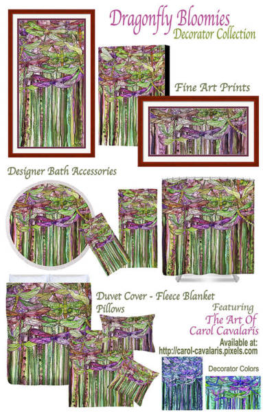 Mixed Media - Dragonfly Bloomies Decorator Collection by Carol Cavalaris