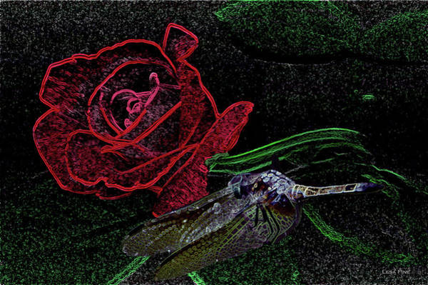 Photograph - Dragonfly Dash With The Rose Neon by Lesa Fine