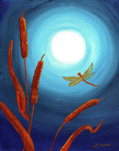 Bulrush Wall Art - Painting - Dragonfly In Teal Moonlight by Laura Iverson