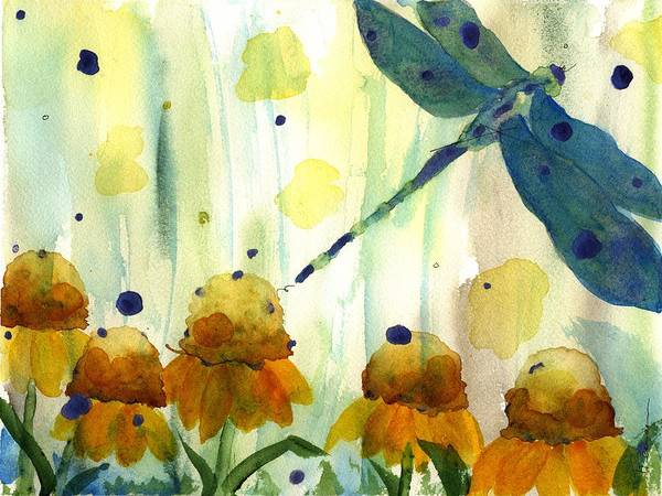 Dragonfly In The Wildflowers Art Print
