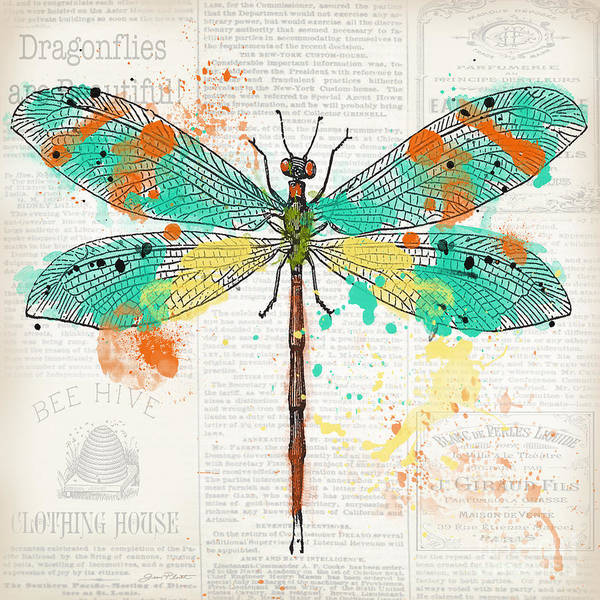 Messy Painting - Dragonfly On Newsprint-jp3451 by Jean Plout