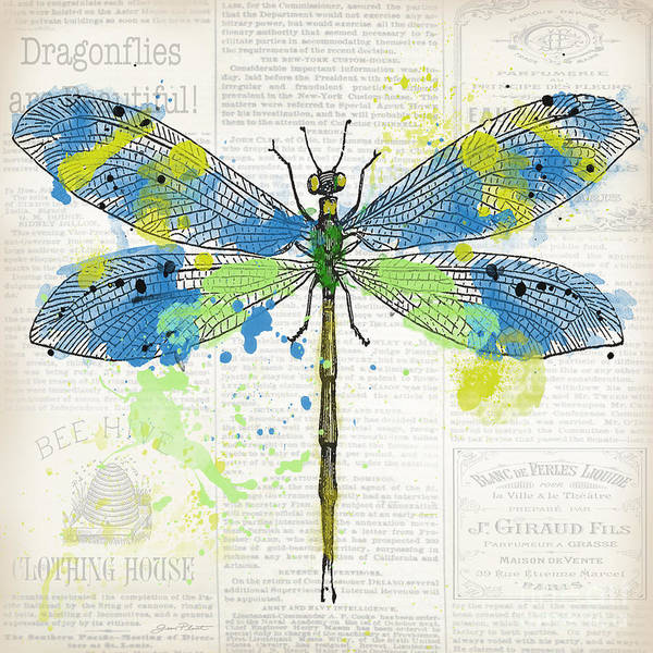 Messy Painting - Dragonfly On Newsprint-jp3452 by Jean Plout