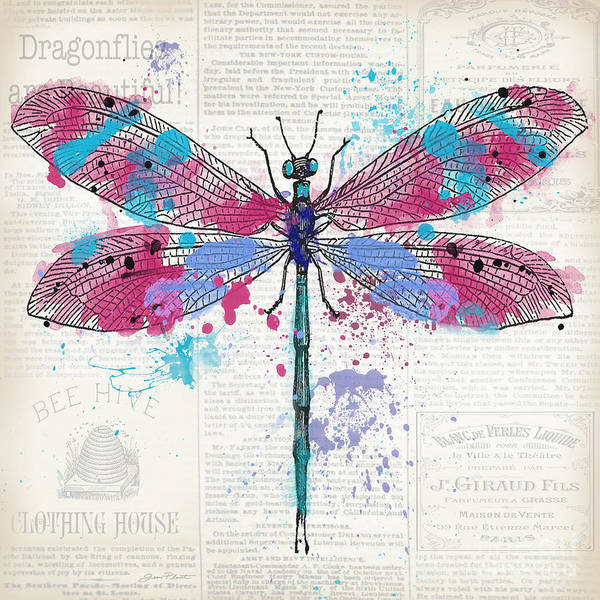 Messy Painting - Dragonfly On Newsprint-jp3453 by Jean Plout