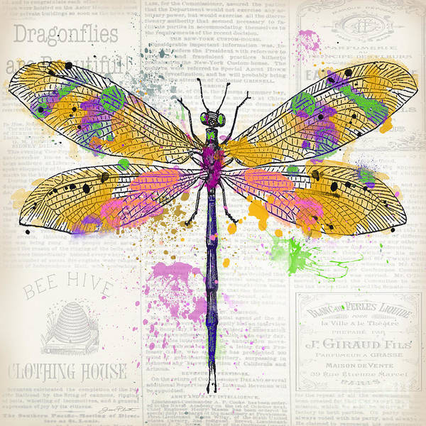 Messy Painting - Dragonfly On Newsprint-jp3454 by Jean Plout