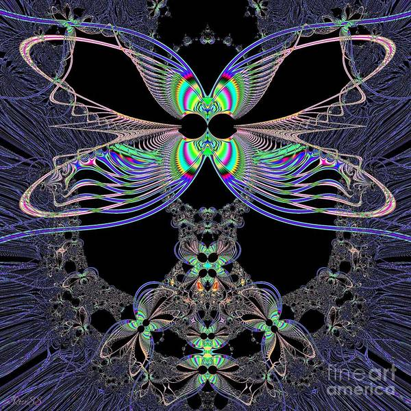 Digital Art - Dragonfly Queen At Midnight Fractal 161 by Rose Santuci-Sofranko