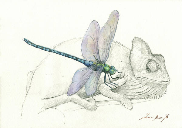 Wall Art - Painting - Dragonfly With Chameleon by Juan Bosco