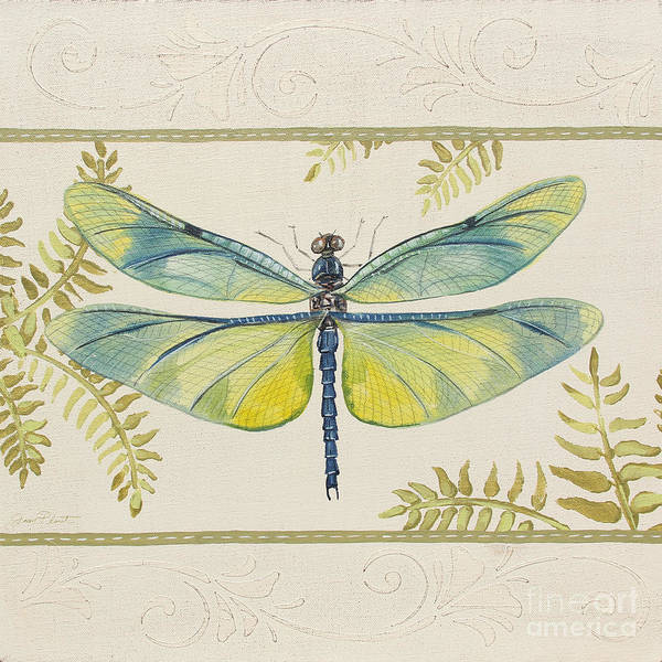 Yellow Ribbon Painting - Dragonfly Wonder-jp3141 by Jean Plout