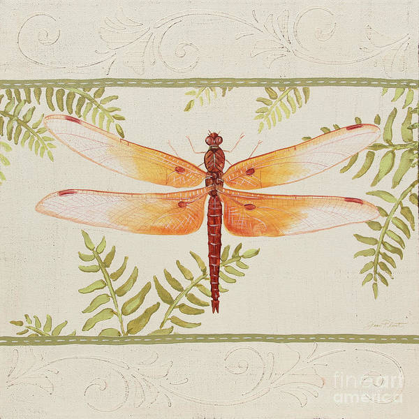 Yellow Ribbon Painting - Dragonfly Wonder-jp3142 by Jean Plout