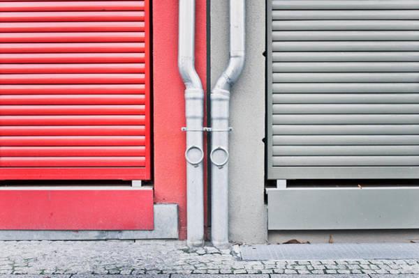 Aluminum Wall Art - Photograph - Drain Pipes by Tom Gowanlock