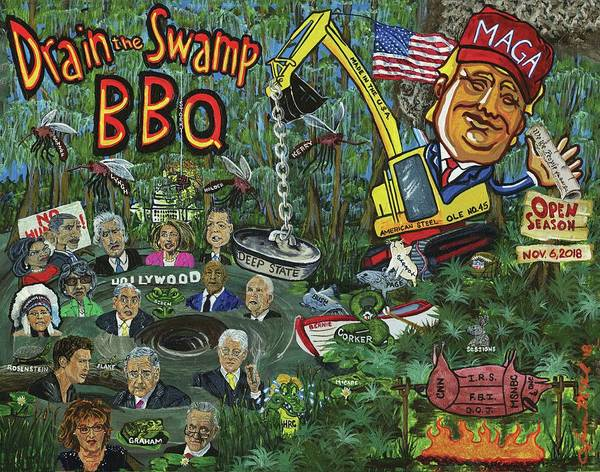 Trump Cartoon Painting - Drain The Swamp by Jason McKeel