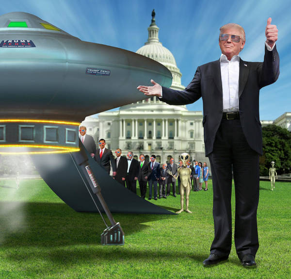 Trump Digital Art - Draining The Swamp With Help From Above by Mike McGlothlen