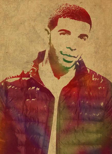 Drake Wall Art - Mixed Media - Drake Watercolor Portrait by Design Turnpike