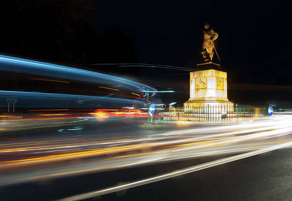 Photograph - Drakes Statue Traffic Trails by Helen Northcott