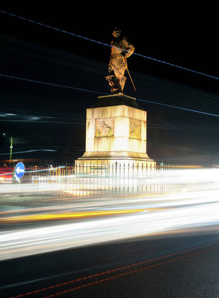 Photograph - Drake's Statue Traffic Trails II by Helen Northcott