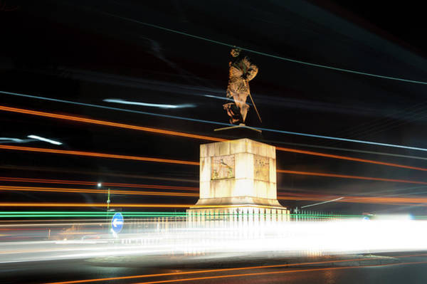 Photograph - Drake's Statue Traffic Trails IIi by Helen Northcott