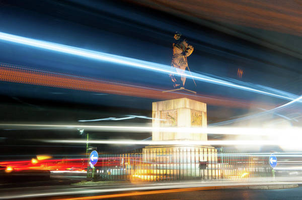 Photograph - Drake's Statue Traffic Trails Iv by Helen Northcott