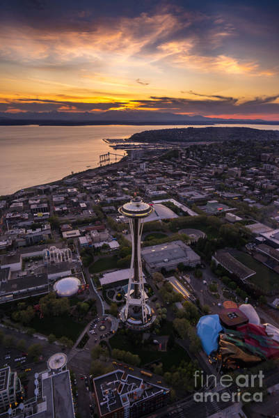 Safeco Field Photograph - Dramatic Aerial Sunset Space Needle View by Mike Reid