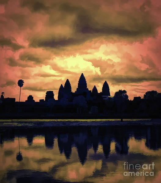 Wall Art - Digital Art - Dramatic Angkor Wat  by Chuck Kuhn