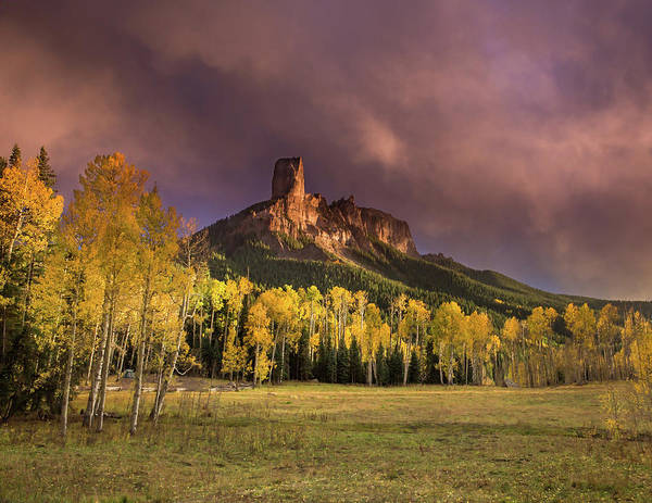 Wall Art - Photograph - Dramatic Autumn Skies Over Chimney Rock by Bridget Calip