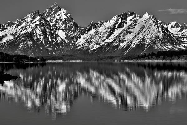 Photograph - Dramatic Black And White Grand Teton Reflection by Dan Sproul