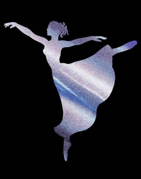 Girly Painting - Dramatic Blue Dance Ballerina Silhouette by Irina Sztukowski